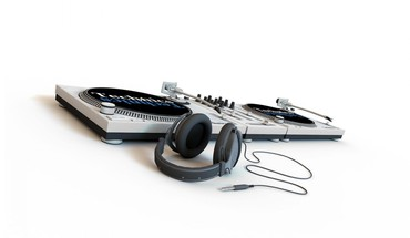 Artwork headphones turntables white background HD wallpaper
