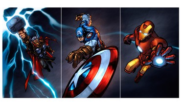 Digital art marvel the avengers mjolnir shields HD wallpaper
