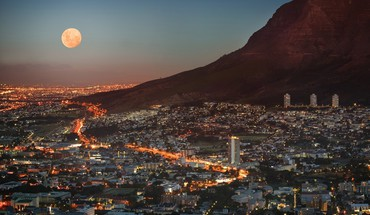 Cape town moon city lights cityscapes HD wallpaper