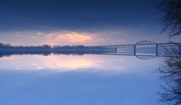 Bridge over misty river HD wallpaper