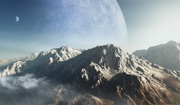 Mountains clouds planets alien landscapes HD wallpaper