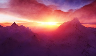 Beautiful mountain dawn HD wallpaper