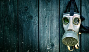 Green blue wood gas masks HD wallpaper