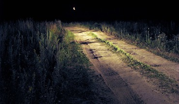 Moon nature night roads scenic HD wallpaper