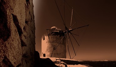 Sepia windmills HD wallpaper