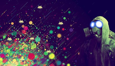 Games gaming gas masks light outer space HD wallpaper