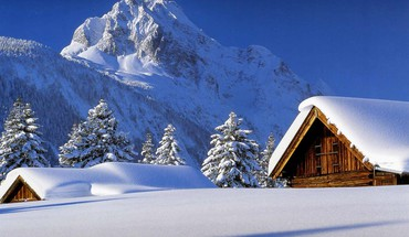 Cabin landscapes mountains snow winter HD wallpaper