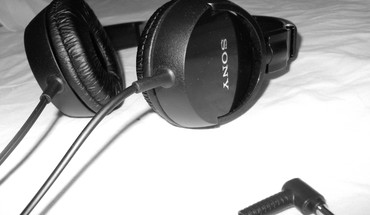 Headphones black and white music sony sound blank HD wallpaper