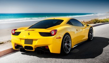 Yellow cars ferrari roads 458 italia HD wallpaper