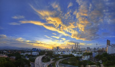 Sunset landscapes cityscapes urban buildings kuala lumpur HD wallpaper