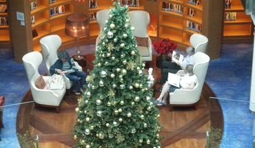 Library christmas tree on a cruise ship HD wallpaper