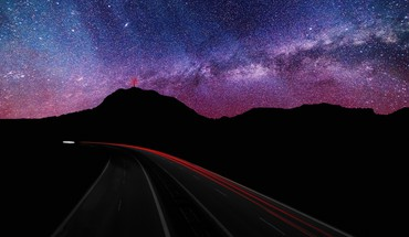 Mountains clouds landscapes lights stars roads evening HD wallpaper
