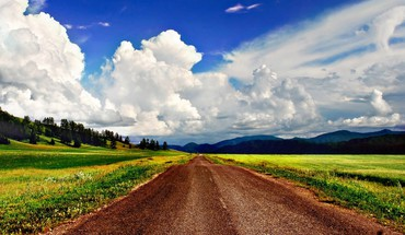 Beautiful sky over dirt road HD wallpaper
