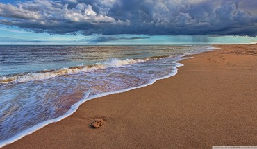 Water clouds nature beach sand sea HD wallpaper