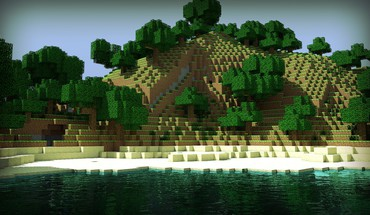 Wasser Berge minecraft herobrin skyscapes  HD wallpaper