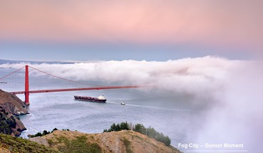 Fog golden gate bridge san francisco boats HD wallpaper