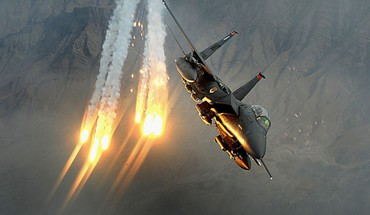 F-15 eagle aircraft flares rocket strike HD wallpaper
