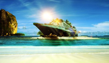 Sunset landscapes sun beach ships islands photomanipulation speedart HD wallpaper