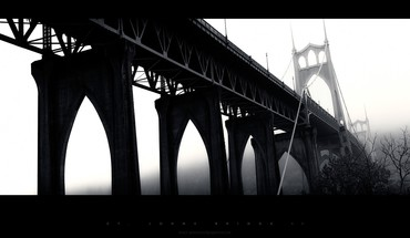 Black and white bridges dawn HD wallpaper