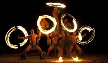 French polynesia moorea dancers fire HD wallpaper