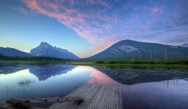 Mountains pier lakes HD wallpaper