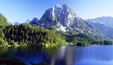 Mountains landscapes nature forest lakes HD wallpaper