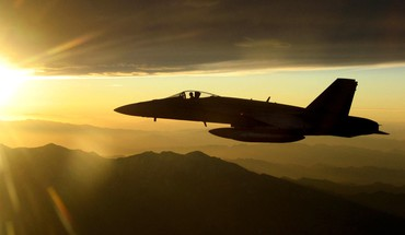 Aircraft orange f18 hornet sun fighter jets skies HD wallpaper