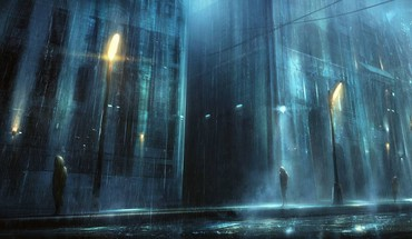 Night rain artwork cities HD wallpaper