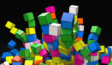 Geometry cubes 3d colors down HD wallpaper