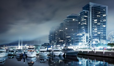 Blue cityscapes ships boats skyscrapers dockland HD wallpaper