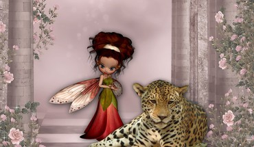 Big cat and fairy HD wallpaper