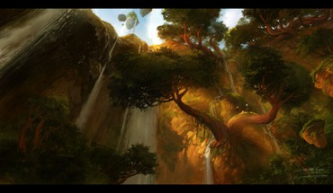 World of warcraft falls fantasy art nagrand HD wallpaper