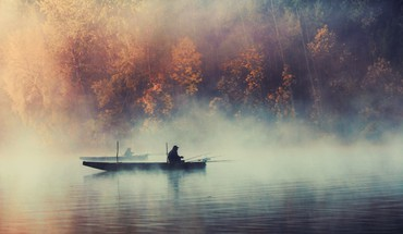 Fog mist boats lakes HD wallpaper