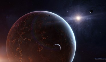 Outer space stars planets digital art moons HD wallpaper
