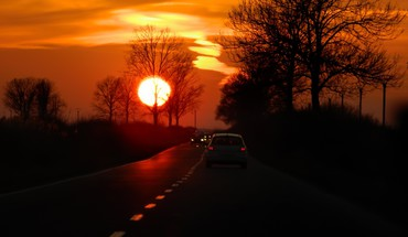 Roads sunset HD wallpaper