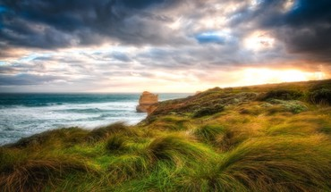 Amazing sea coast hdr HD wallpaper