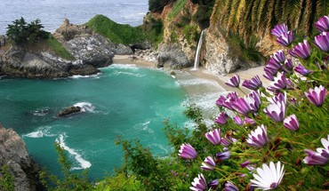 Landscapes nature coast beach flowers rocks falls sea HD wallpaper
