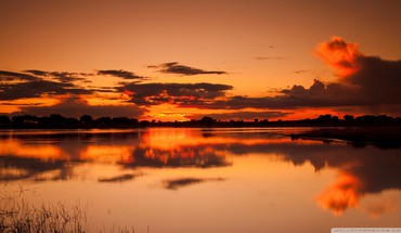 Sunset nature orange lakes reflections HD wallpaper