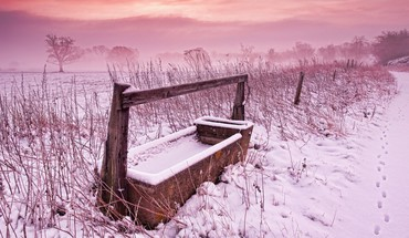 Fields fog snow winter HD wallpaper