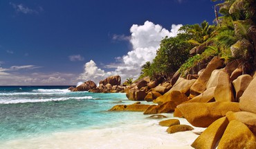 Nature beach sand trees corner rocks islands seychelles HD wallpaper