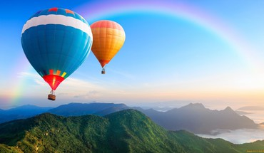 Mountains landscapes nature rainbows baloons skies HD wallpaper