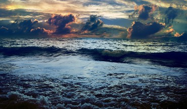 Clouds sea waves HD wallpaper