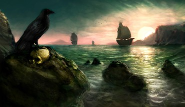 Artwork crows paintwork raven sailing ships HD wallpaper