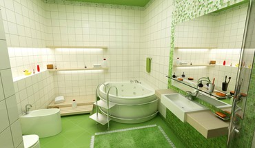 Architecture bathroom green interior design HD wallpaper