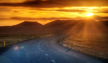 Desert road at sunset hdr HD wallpaper