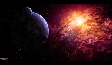 Deviantart digital art nebulae outer space planets HD wallpaper