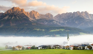Austrian tyrol village in fog HD wallpaper