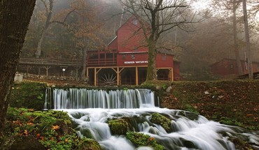 World architecture moss waterfalls missouri mills HD wallpaper