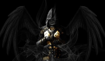 Weapons artwork swords armour black background hood HD wallpaper
