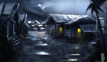 Rain artwork christian quinot village HD wallpaper